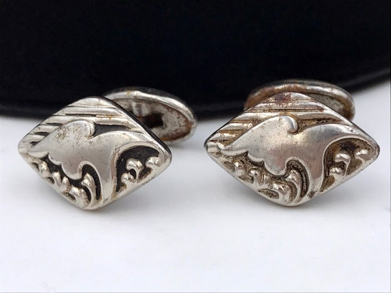 Bean Back Silver Repousse Cuff Links, ca. 1910s, A