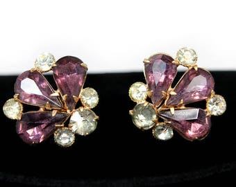 Amethyst Rhinestone Earrings, ca. 1950s, Vintage Earrings