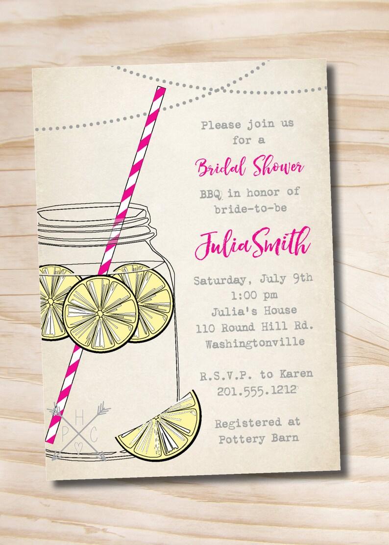 BBQ Backyard Summer Bridal Shower Invitation Printable digital file or printed invitations Vintage Lemonade Bridal Shower Invitation