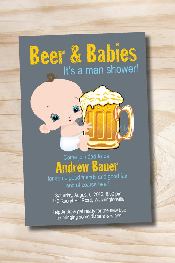 man shower beer and babies diaper party invitation printable etsy