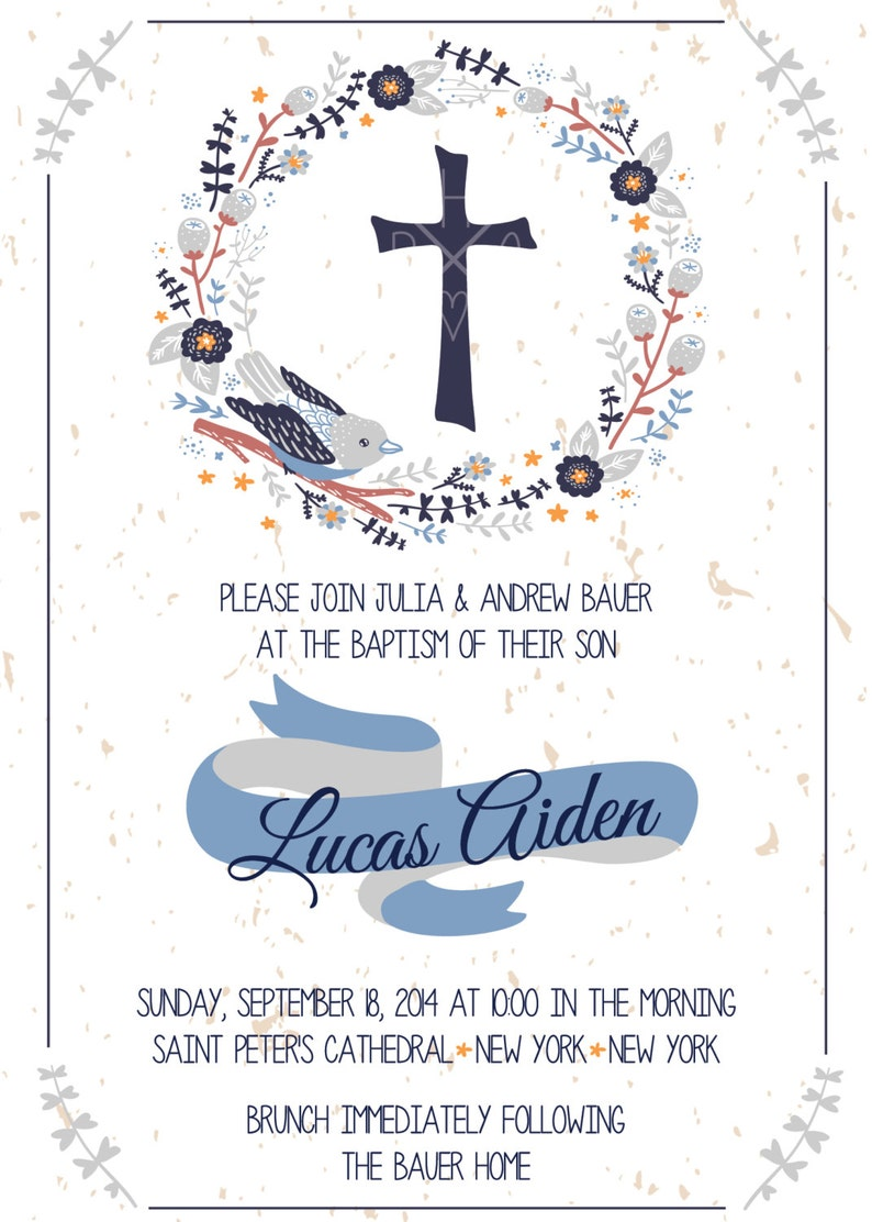 Dove First Holy Communion Invitation Rustic Baptism Invitation Baby Baptism Invitation Boy Baptism Dove Baptism Invitation