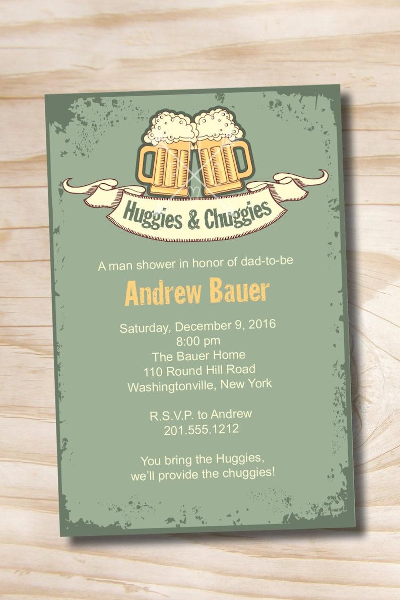 beer and babies Diaper Party Invitation Printable Digital file or Printed Invitations Vintage HUGGIES /& CHUGGIES bbq