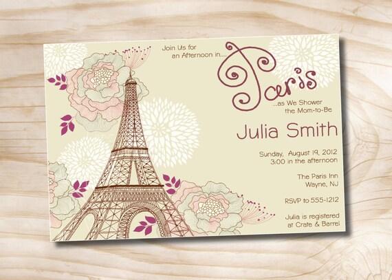Parisian bridal shower invitation printable digital file or etsy image 0 reheart Image collections