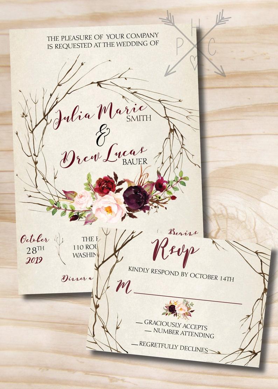 rustic wedding invitation response card invitation suite