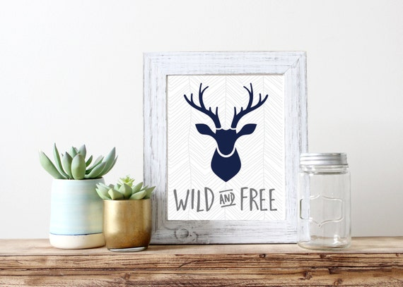 Wild And Free Chevron Stag Antler Print 5x7 8x10 11x14 Wall Art Nursery Home Decor Paper Heart Company