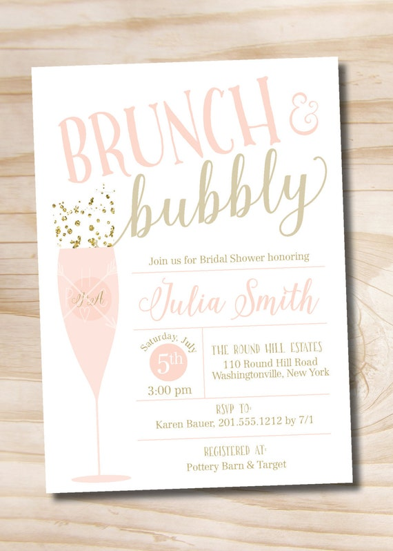 Brunch and bubbly bridal shower invitation confetti glitter etsy image 0 filmwisefo