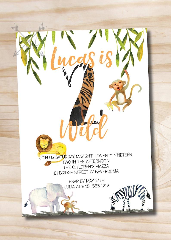 Custom PDF or Printed Invitation Two Wild Birthday Invitation  Second Birthday Invitation  Jungle Birthday  Photo Invitation