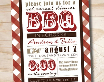 Gingham Poster BBQ Barbeque Engagement Party / Rehearsal Dinner Party Invitation - Printable digital file or printed invitations