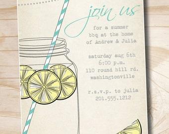 VINTAGE Mason Jar BBQ Lemonade Barbeque Party Engagement Party Rehearsal Dinner Invitation - Printable digital file or printed invitations