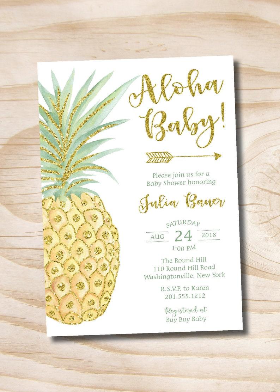 Printable Digital file or Printed Invitations Aloha Baby Tropical Hawaii Pineapple Baby Shower Invitation