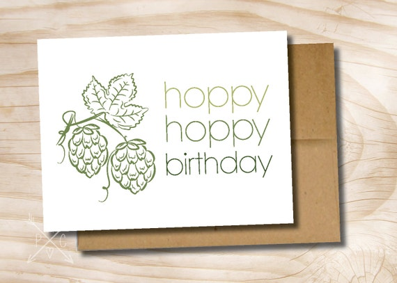Hoppy Birthday Hoppy Beerday Beer Mug Printed Greeting Card Etsy
