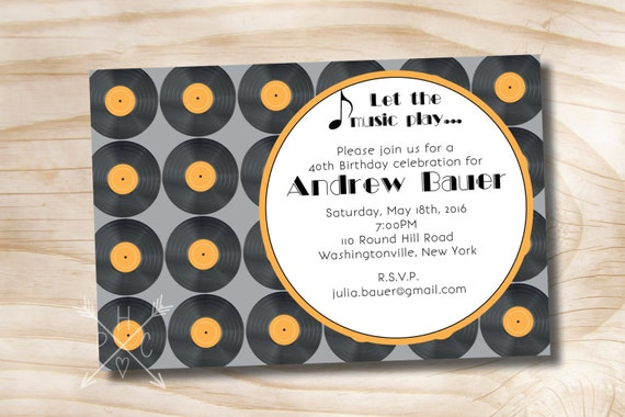 photo relating to Printable Records identify Classic Data Audio Concept Birthday Grownup Invitation