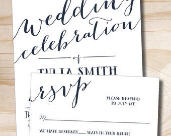 Rustic Script Celebrate Wedding Invitation Response Card Invitation Suite