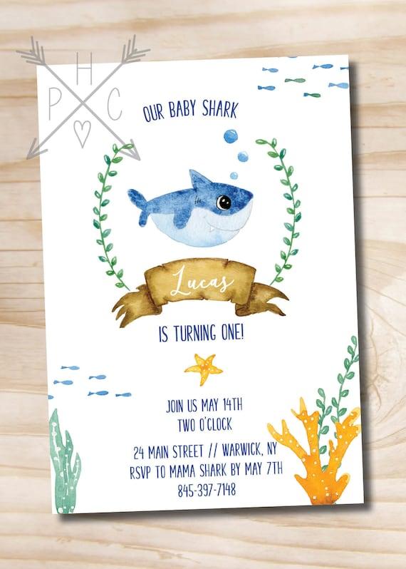 Watercolor Shark Invitation Under The Sea Baby Birthday Boy
