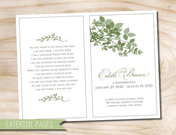 Leaves Branches Funeral Or Memorial Program Bulletin Order Of