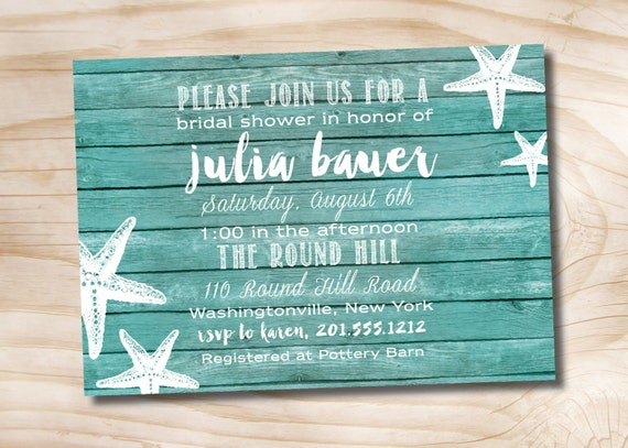 7467d44bf87 Wooden Plank Starfish Beach wood Bridal Shower invitation - Printable  digital file or printed invitations