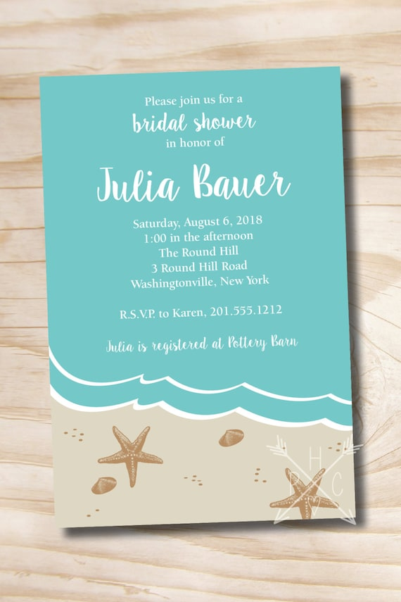 Beach bridal shower invitation ocean sand destination wedding etsy image 0 filmwisefo