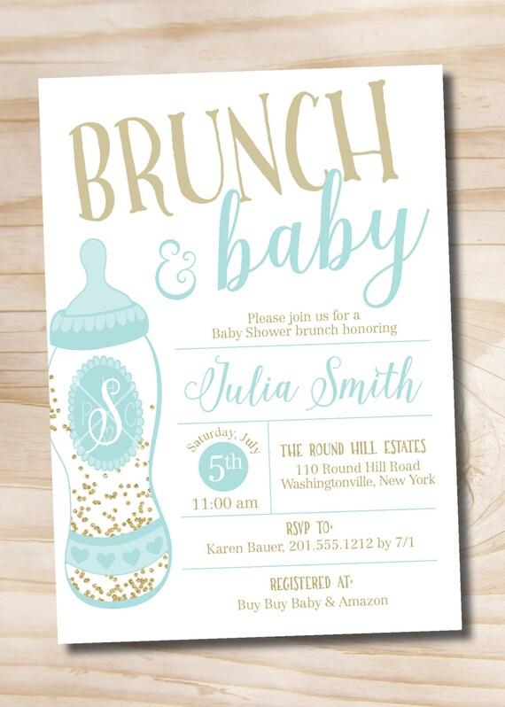Brunch And Baby Shower Invitation Confetti Glitter Baby Bottle