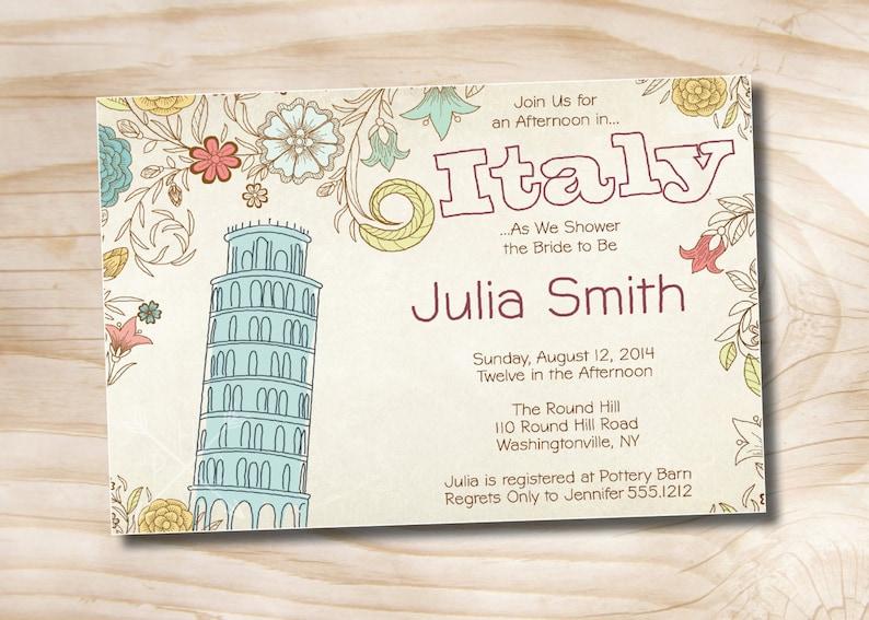 a02246eb706 Italian Bridal Shower Invitation Printable digital file or