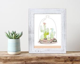 Watercolor Terrarium Print 5x7 8x10 11x14 Wall Art Nursery Home Decor Poster
