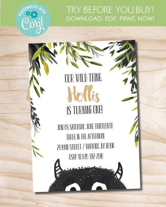 graphic relating to Let the Wild Rumpus Start Printable named In which the Wild Aspects Are Birthday Invitation // Enable the