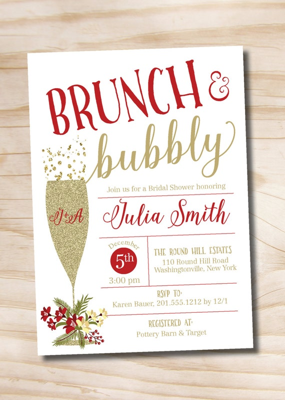 brunch and bubbly christmas red and gold bridal shower invitation