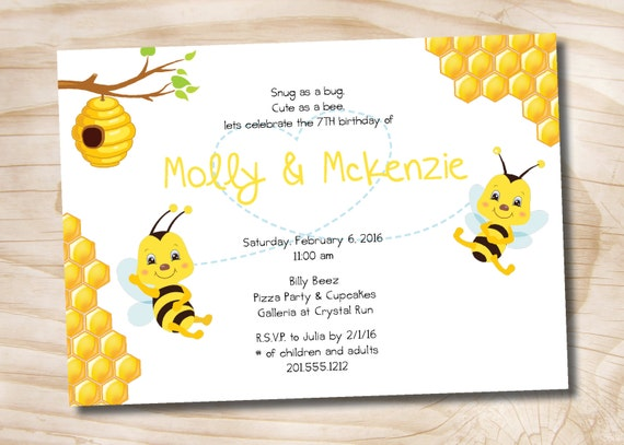 Bee Birthday Party Invitation 6th 7th 8th 9th 10th Boy