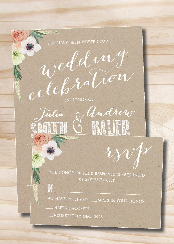 Watercolor Floral Kraft paper Wedding Invitation Response Card | Etsy