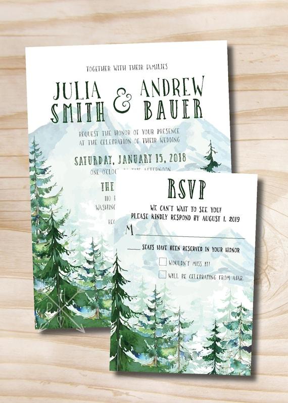 Watercolor Pine Tree Mountain Wedding Invitation And Response