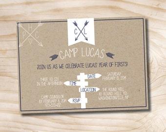 Camp Theme Birthday Invitation - Printable Invitation
