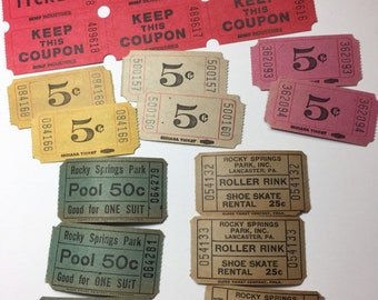 15 vintage tickets from the 50s  collage mixed media