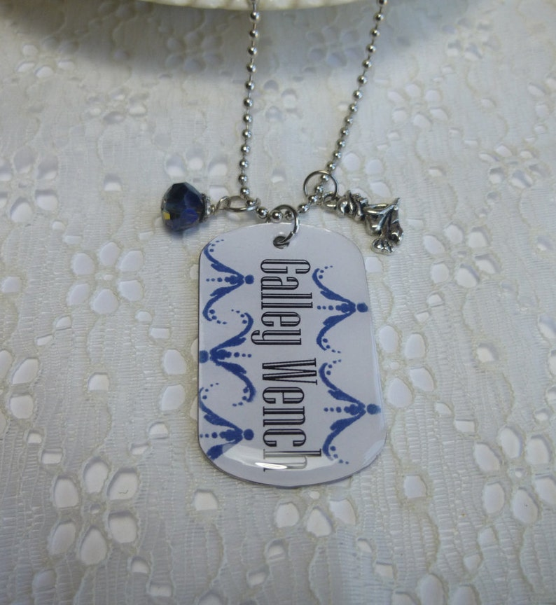 Flight Attendant Jewelry Galley Wench Flight Attendant Dog Tag Pendant Necklace with Charms on Ball Chain
