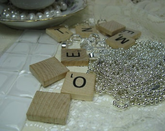 Scrabble Tile Necklace Kit Scrabble tile Pendant kit with tiles, Glue on bails and Silverplated Ball Chain Necklaces Kit, Makes 10