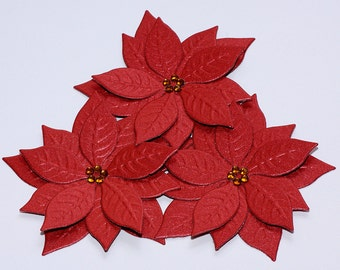 Handmade Poinsettia flowers- die cut- Christmas- for scrapbooking or cardmaking or decoration