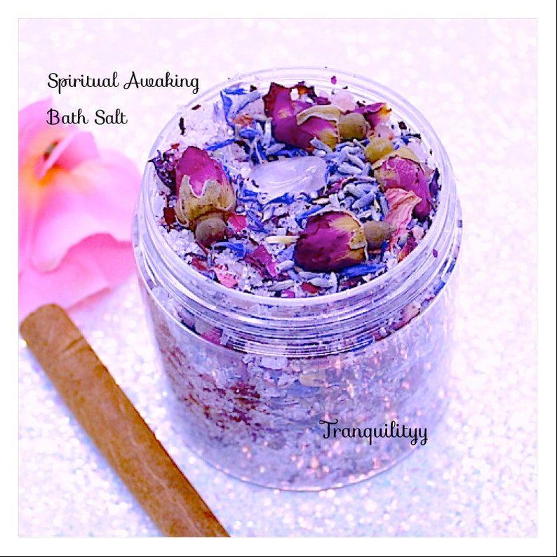 Bath Salt Spiritual Awakening, 8oz ,Purifying Spa Relaxation Exotic  Essential Oil , Healing, Organic Dried Flowers, By: Tranquilityy