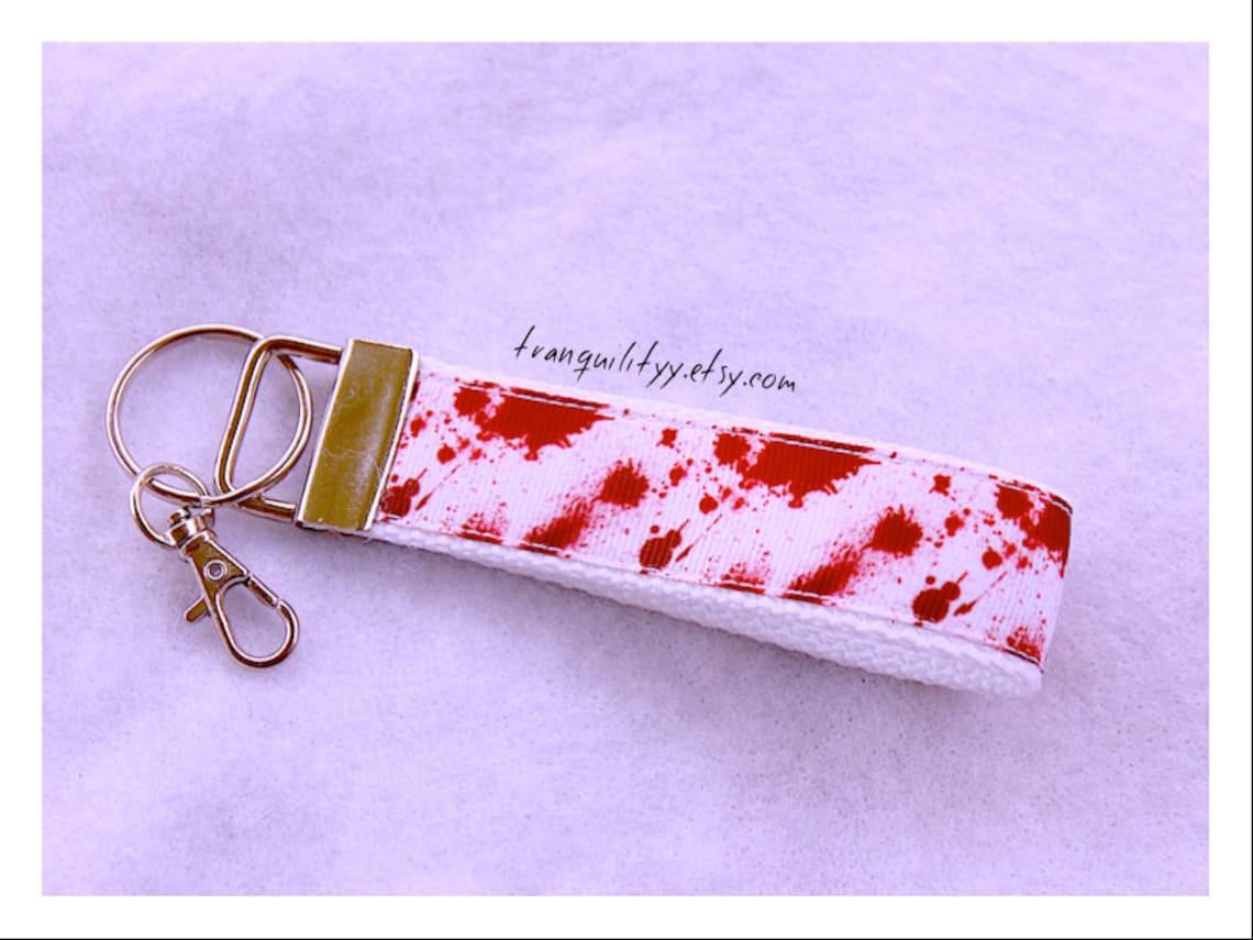 Blood Spatter Key Fob Blood Type Spatter Lanyard Psycho   Etsy