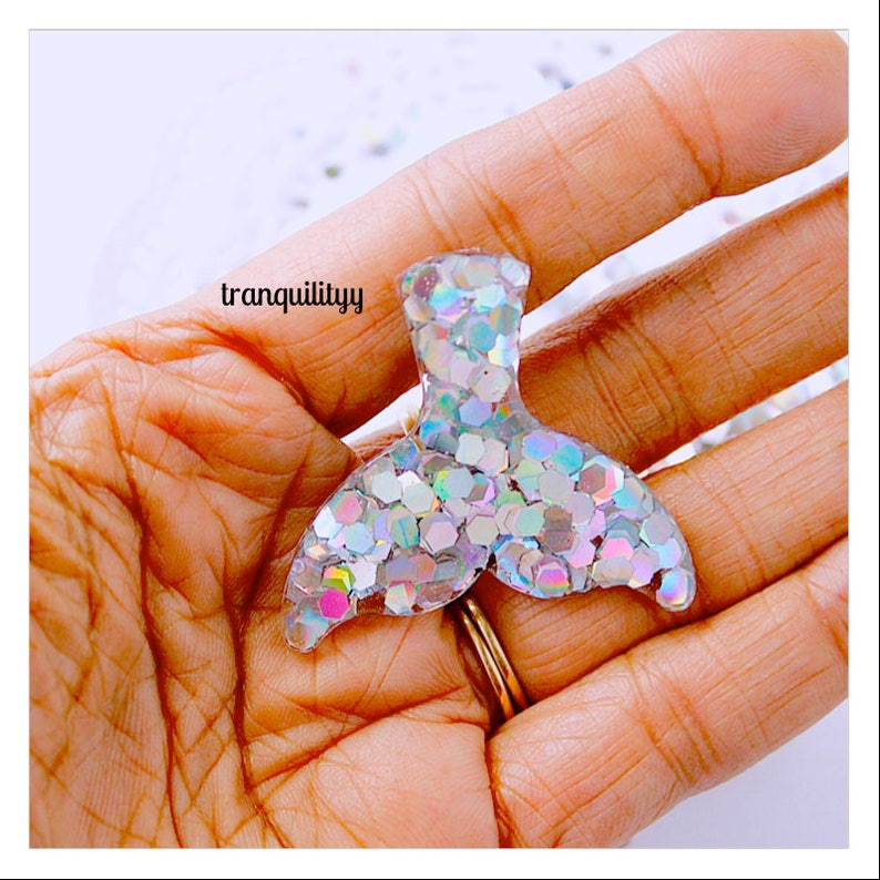 Craft Supplies Resin Scales Tail Mermaid Tails Cabochons 2 Holographic  Iridescent Mermaid Scales  Decoden Handmade By: Von/'Dez