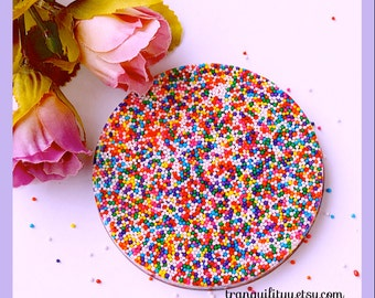 Candy Sprinkle Coaster , Real Candy Sprinkle Resin Cosater, Coaster, Kawaii, Birthday,  By: Tranquilityy