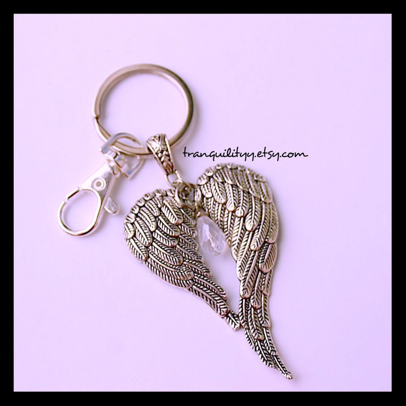 Large Feather Crystal Keyring Handmade By: tranquilityy Angel Wings Keyring Crystal Guardian Wings Key Chain
