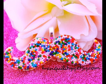 Mustache Necklace ,Sprinkle Necklace ,Sweet Expressions Sprinkle Mustache Resin Necklace Handmade By: Tranquilityy