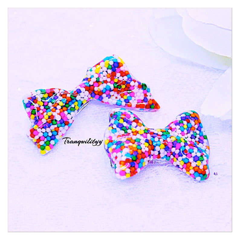 Birthday Scene Real Sprinkle 2 Sizes Resin Bow Sprinkle Hair Clip Handmade By: Tranquilityy Kawaii Lolita