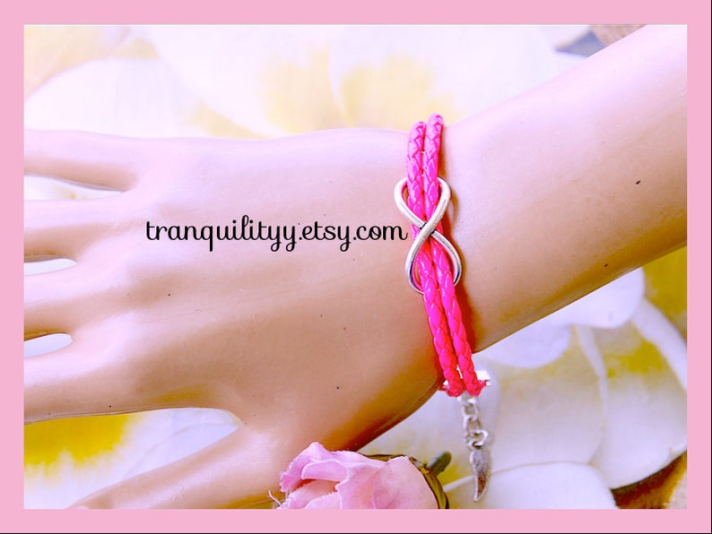 Hot Pink Braided Faux Leather By Infinity Bracelet Infinity Charm Adjustable Bracelet Tranquilityy