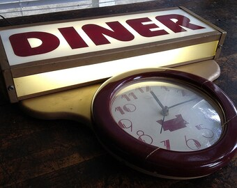 Rare Vintage c.1930's Art Deco DINER Lighted Sign & Clock by Ohio Advertising Co. Ingraham