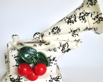 1950s Ceramic Victrola Wall Pocket with Cherries Speckled Black and White Pottery Phonograph Rockabilly Kitchen Jackpot Jen Vintage