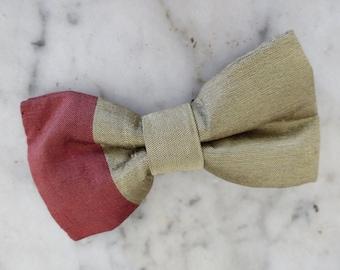 Gray Vintage Clip On Bow Tie 1950s Grey Semi-Solid
