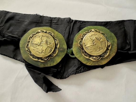 1910s Semi-transparent, green celluloid Belt Buckl