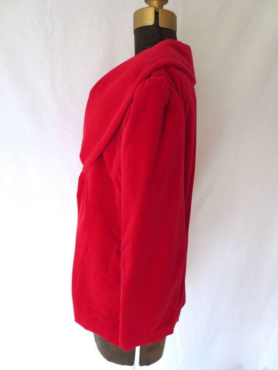 Red Velvet Jacket   1950s Red Velvet Blazer   Roc… - image 8