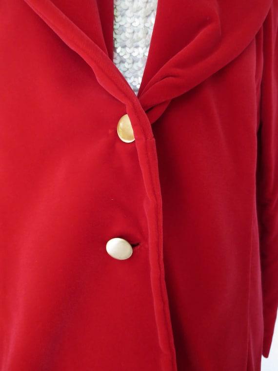Red Velvet Jacket   1950s Red Velvet Blazer   Roc… - image 5