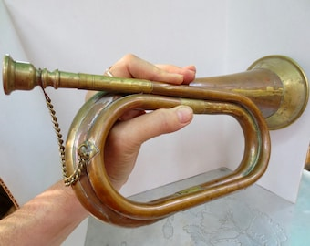 Vintage Copper and Brass Bugle - Decorative Musical Instrument Music Room Army Military- Taps