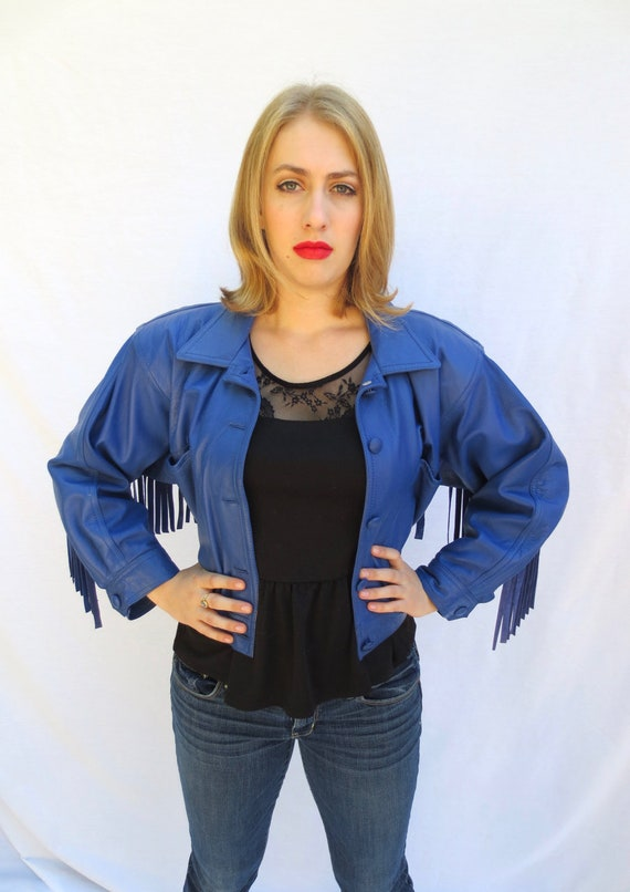 Blue Leather Fringe Jacket | 90s Contempo Crop Jac